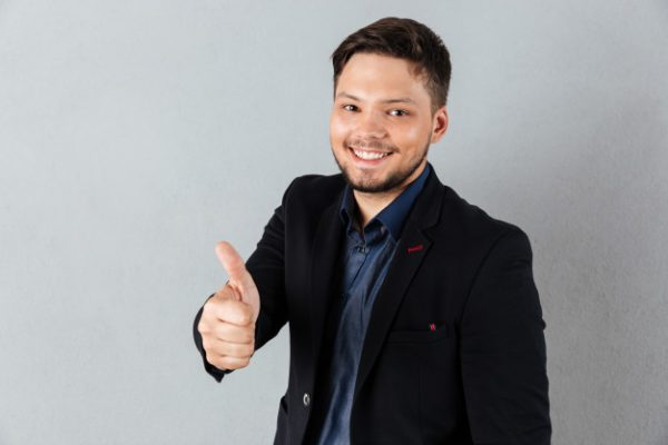 Portrait Young Businessman Showing Thumbs Up Gesture 171337 414